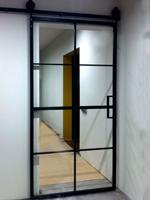 Sliding door with mirror